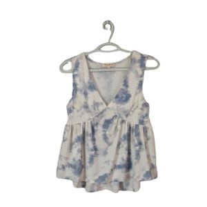 Pie in the Sky White Blue Abstract Stretch Tank L